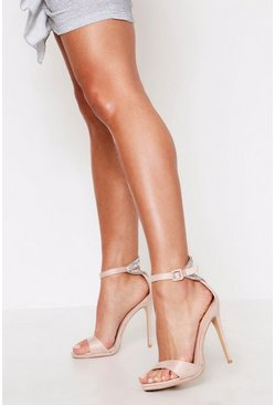 Nude Diamante Heel Detail Barely There Heels