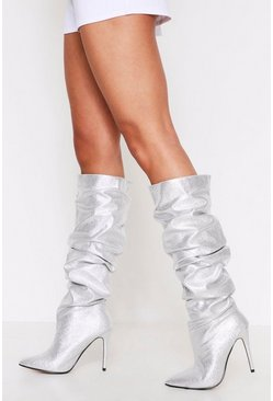 Silver Knee High Ruched Point Toe Boots