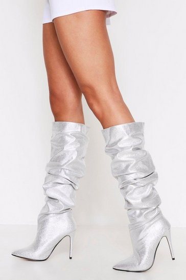 Silver Knee High Ruched Point Toe Boot