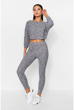 Grey Twist Back Rib Lounge Set