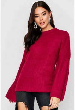Berry flared sleeve ribbed jumper