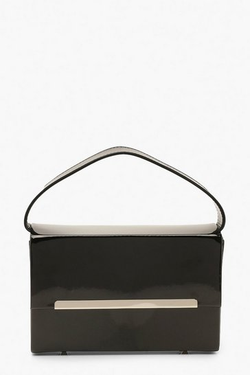 Black Patent Box Bag With Strap And Chain