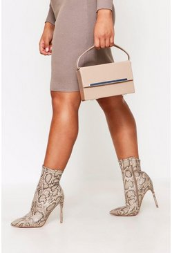 Nude Patent Box Bag With Strap And Chain