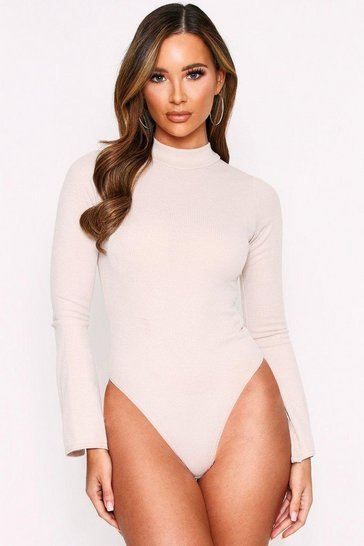 Stone High Neck Split Sleeve Ribbed Bodysuit