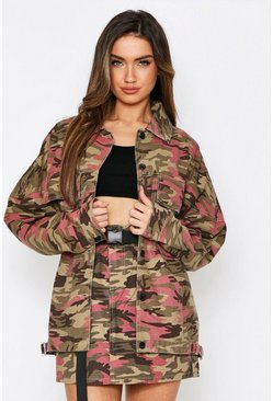 Pink Oversized Buckle Detail Camo Jacket
