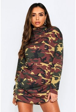 Khaki camo high neck sweat dress