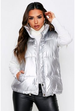 Silver Sleeveless Padded Gilet