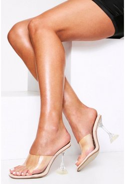 Nude Clear Flared heel mules