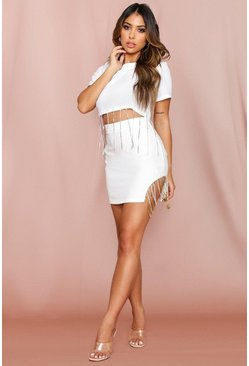White Diamante Tassle T-Shirt