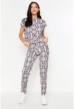 Animal Short Sleeve Boxy Loungewear Set