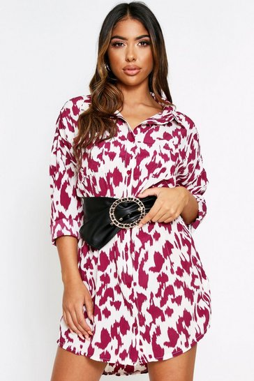 Burgundy Animal Print Oversized Shirt Dress