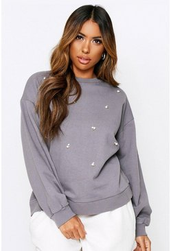 Grey Pearl Embesllished Acid Wash Sweater