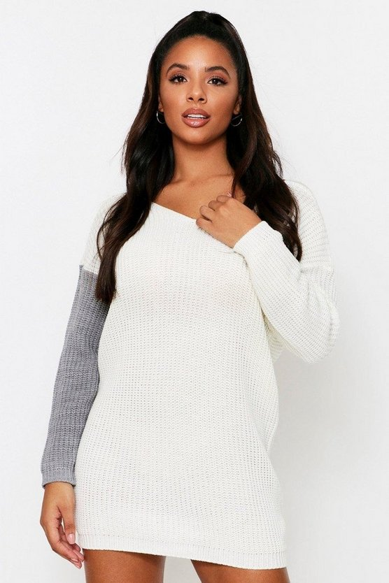 Cream Knot Back Knitted Dress