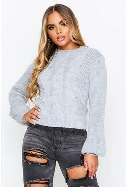 Grey Cable Knit Cropped Balloon Sleeve Sweater