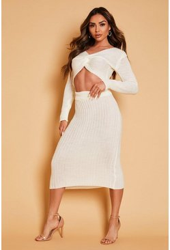 Cream Twist Front Knitted Jumper & Skirt Co Ord