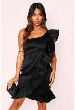 Black Taffeta One Shoulder Ruffle Dress