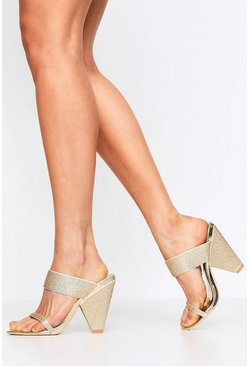 Gold Diamante Embellished Cone Mules