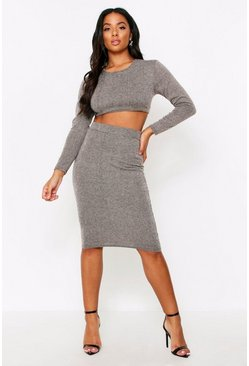 Grey Brushed Rib Midi Skirt Co Ord