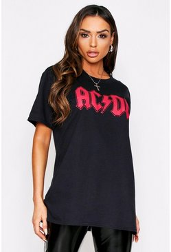 Black ACDC Oversized Graphic T-Shirt