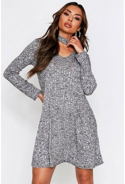 Grey marl Choker Neck Plunge Melange Swing Dress