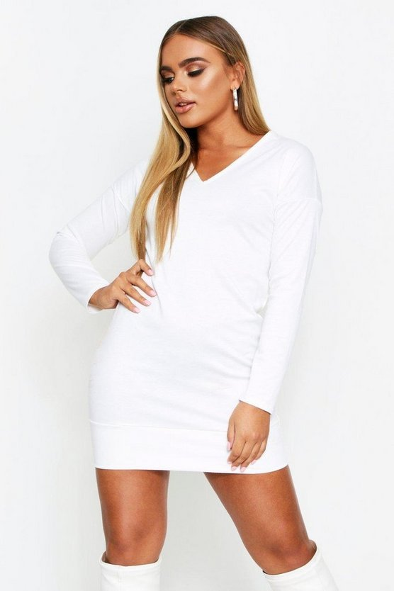 Cream Oversized V Neck Sweater Dress