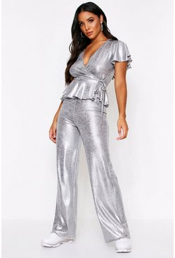 Silver Metallic Peplum Lounge Set