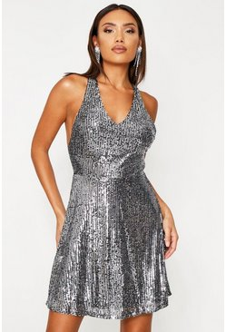 Silver Sequin Skater Dress