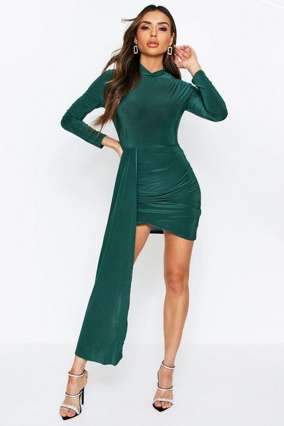 Emerald High Neck Sash Mini Dress