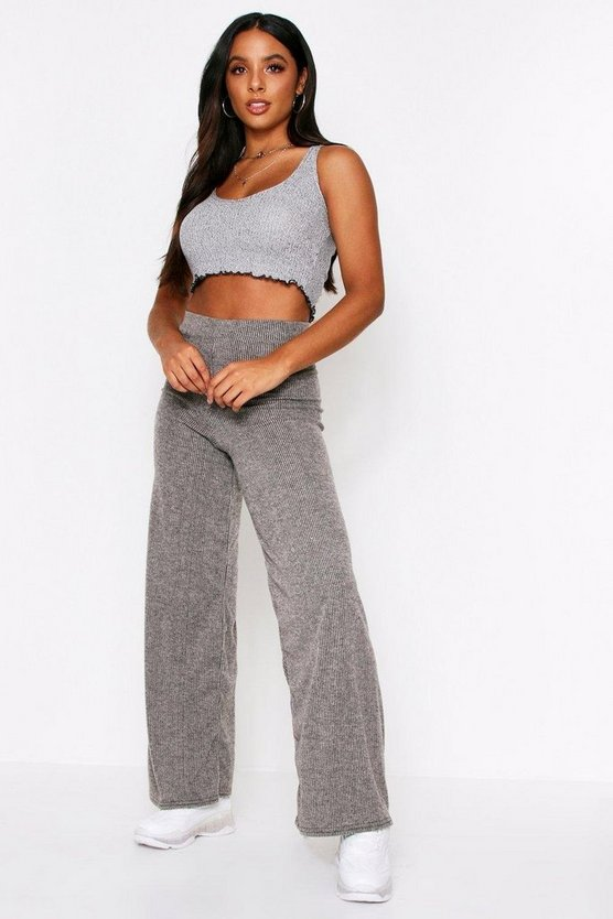 Grey Brushed Rib Wide Leg Jogger