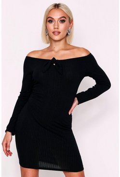Black Long Sleeve Tie Front Rib Mini Dress