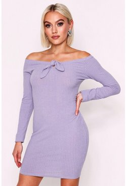 Silver Long Sleeve Tie Front Rib Mini Dress