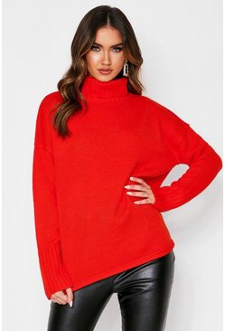 Red Loose Fit Turtleneck Sweater