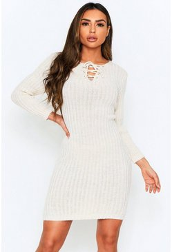 Stone Knitted Tie Front Midi Dress