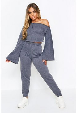 Charcoal Slash Neck Lounge Set