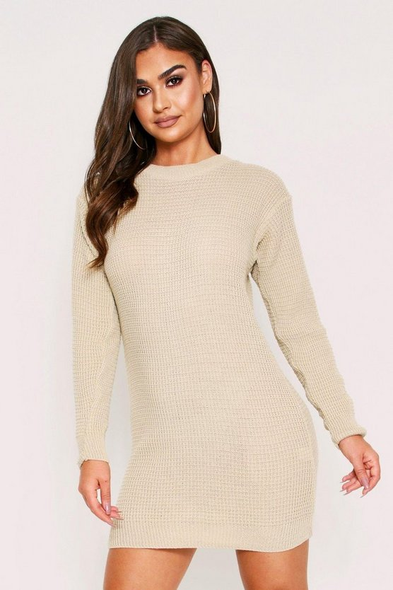 Oatmeal Basic Waffle Knit Dress