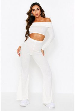 Cream Ribbed Knit Bardot + Wide Leg Coord