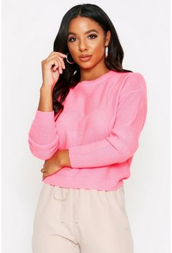 Neon-pink Scoop Neck Knitted Sweater