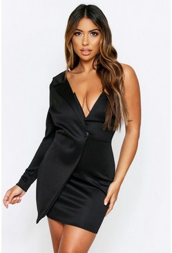 Black One Shoulder V Plunge Mini Dress