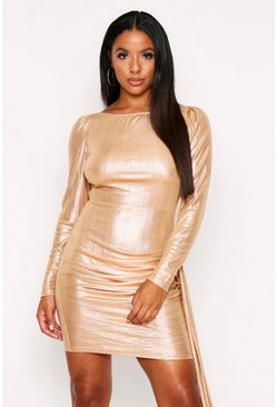 Gold Metallic Foil Dress Slash Neck