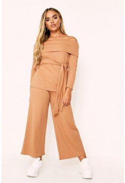 Camel Rib Bardot Top And Ankle Grazer Co-ord