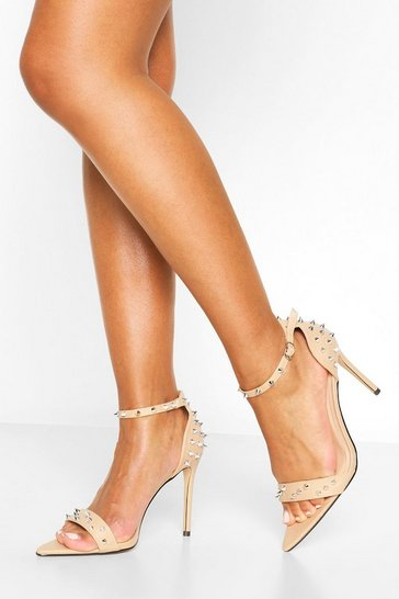 Nude Pointy Toe Stud Detail Barely There Heels
