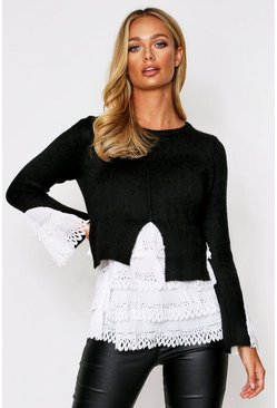 Black Woven Frill Detail Knitted Jumper