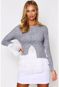 Grey Woven Frill Detail Knitted Jumper