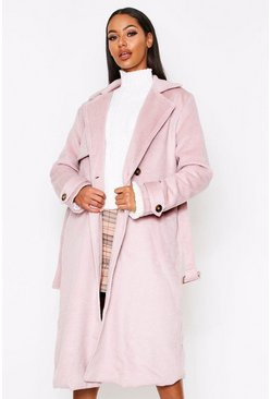 Blush Brushed Wool Look Belted Coat