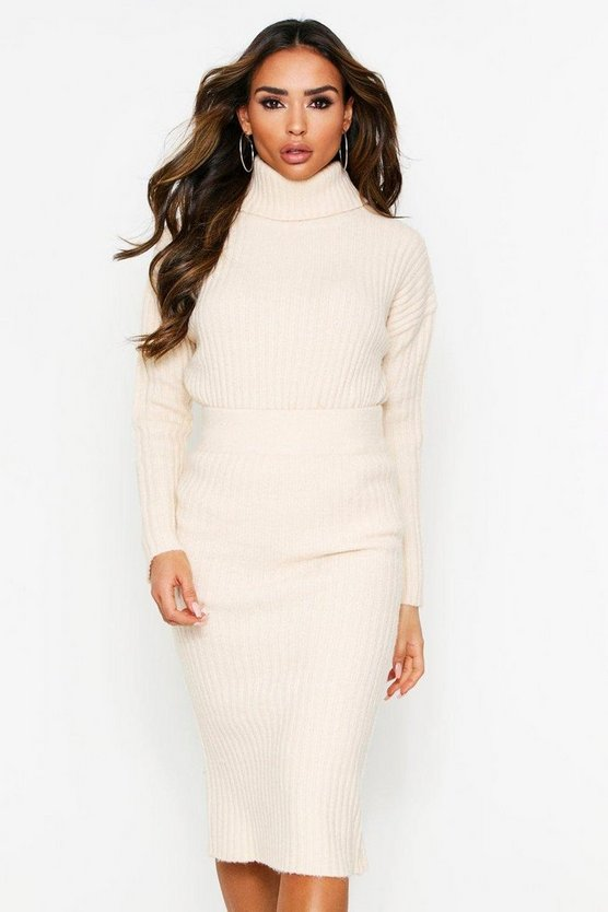 Ivory Knitted Roll Neck And Skirt