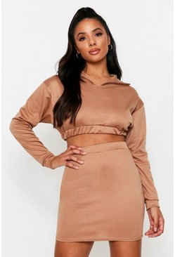 High Neck Cropped Lounge Set, Camel