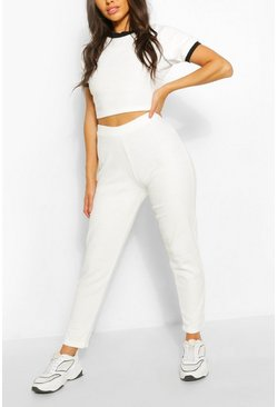 Towelling Sport Crop Lounge Set, White