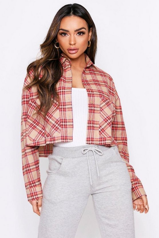 Stone Checked Cropped Oversized Shirt