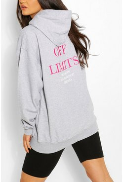 Grey marl Off Limits Oversized Hooded Sweat