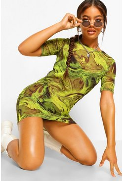 Lime Marble Print Mesh Oversized T shirt dress